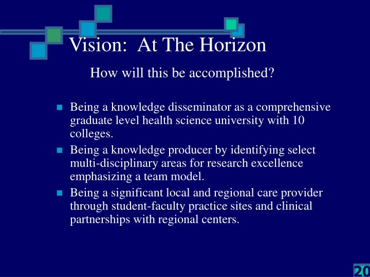 Vision:  At The Horizon