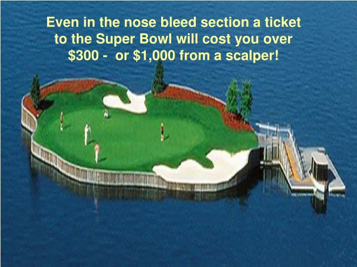 Even in the nose bleed section a ticket to the Super Bowl will cost you over $300 -  or $1,000 from a scalper!