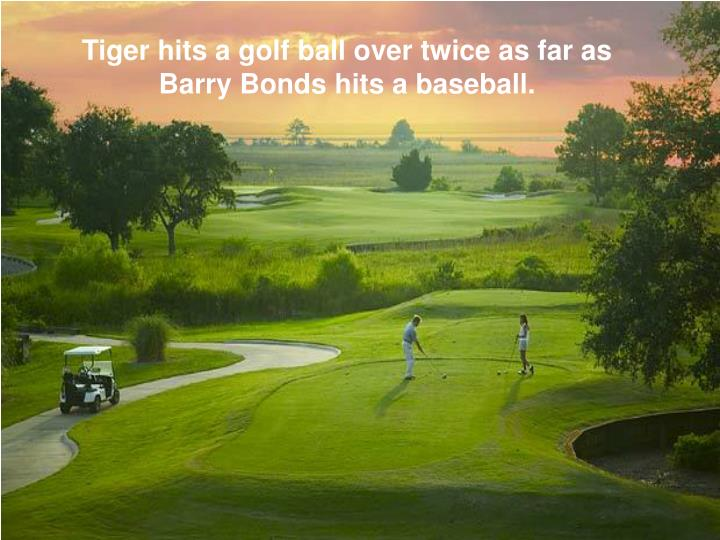 Tiger hits a golf ball over twice as far as Barry Bonds hits a baseball.
