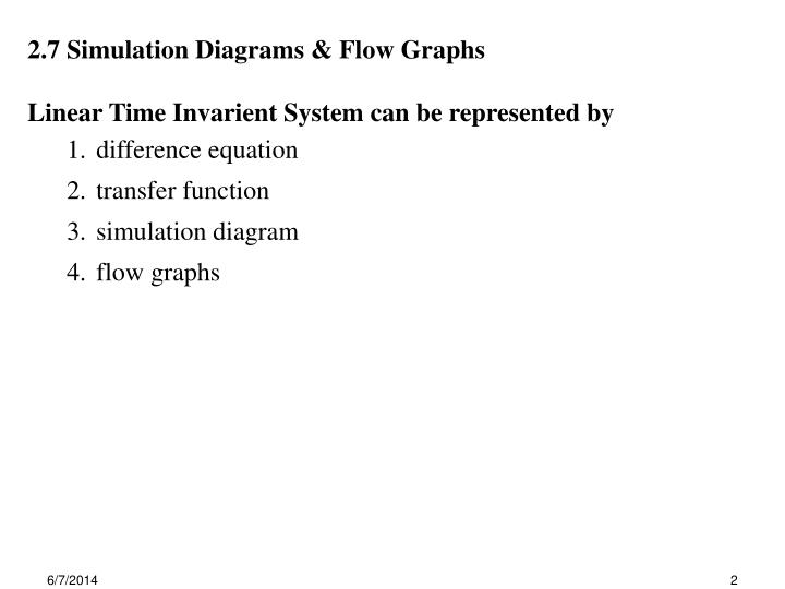2.7 Simulation Diagrams & Flow Graphs