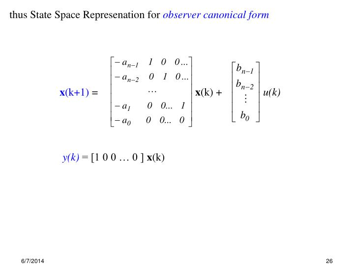 thus State Space Represenation for