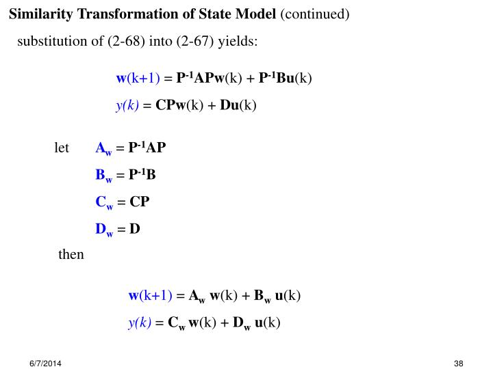 Similarity Transformation of State Model