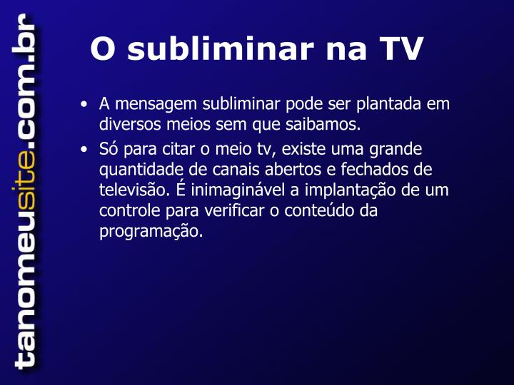 O subliminar na TV