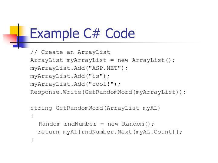 Example C# Code
