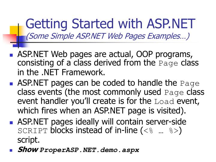 Getting Started with ASP.NET