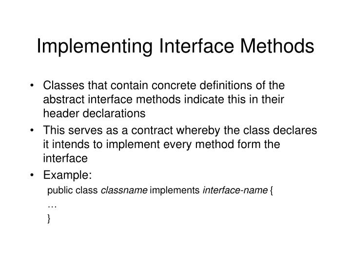 Implementing Interface Methods