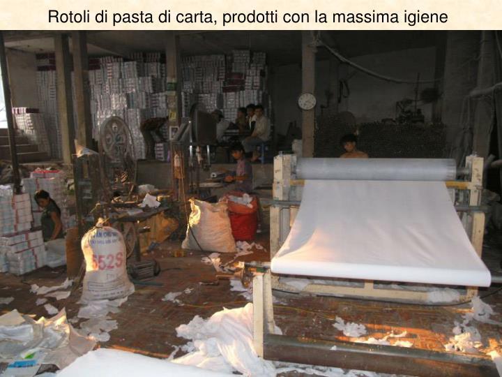 Rotoli di pasta di carta, prodotti con la massima igiene