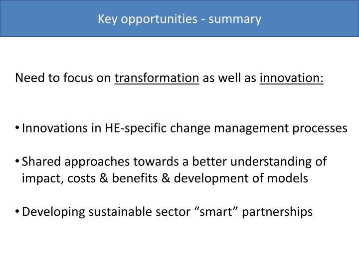 Key opportunities - summary