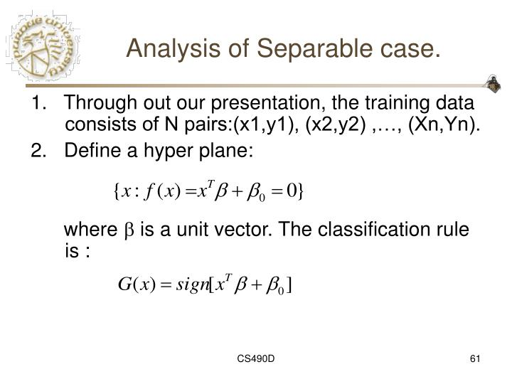 Analysis of Separable case.