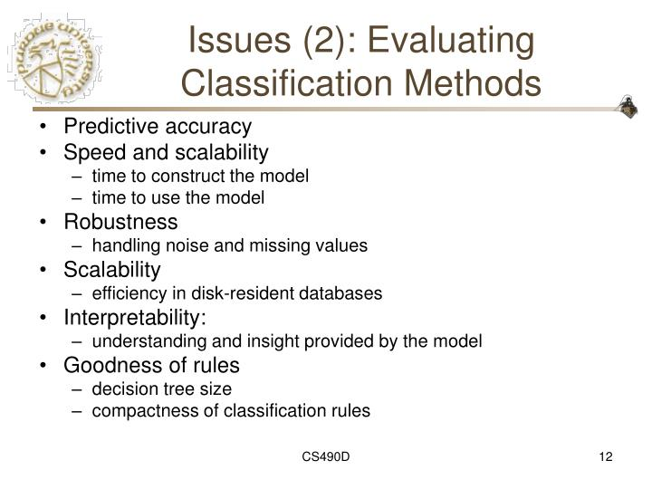 Issues (2): Evaluating Classification Methods