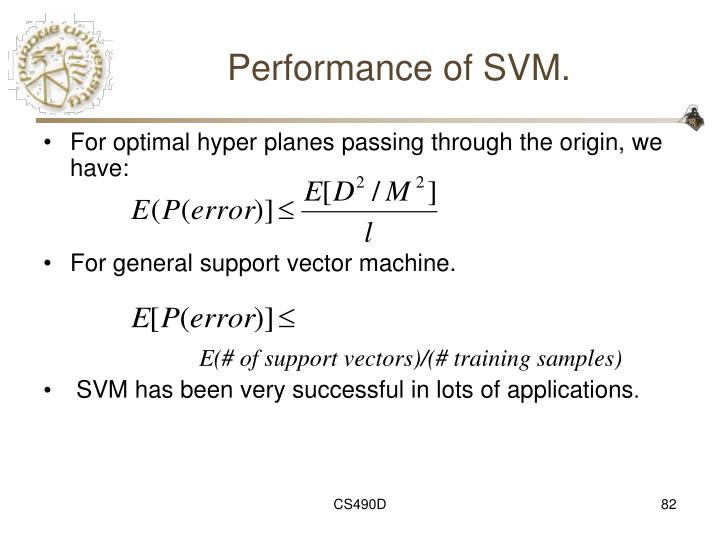 Performance of SVM.