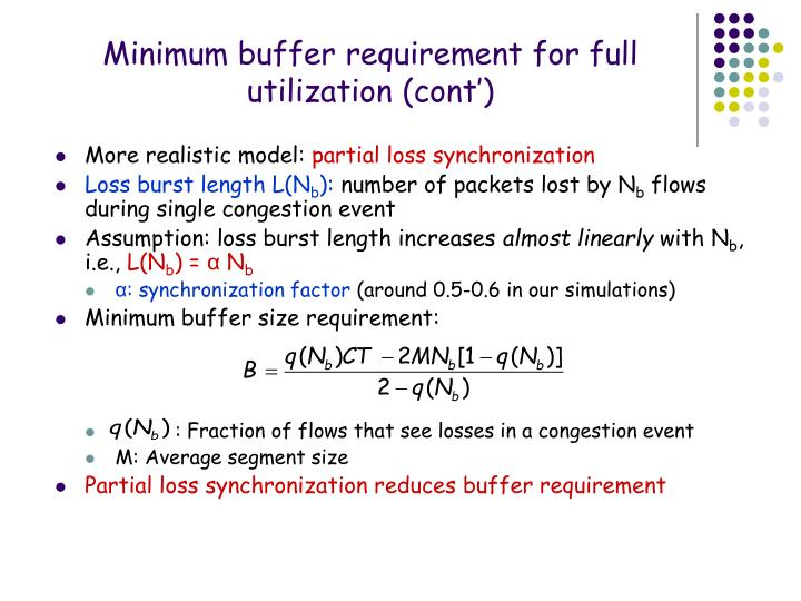 Minimum buffer requirement for full utilization (cont')