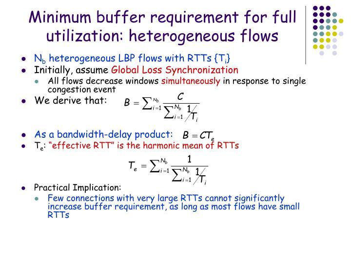 Minimum buffer requirement for full utilization: heterogeneous flows