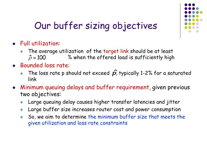 Our buffer sizing objectives