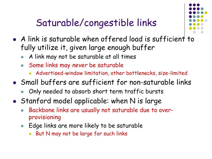 Saturable/congestible links