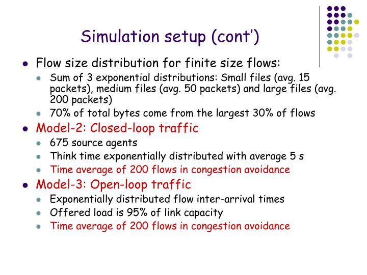Simulation setup (cont')