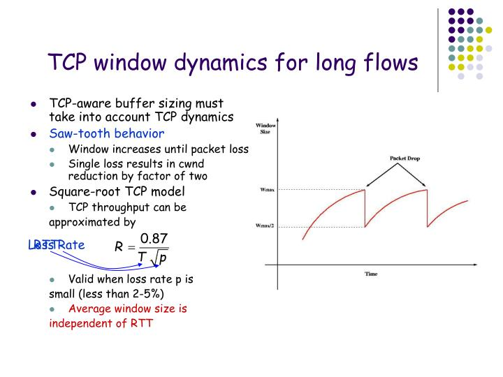 TCP window dynamics for long flows