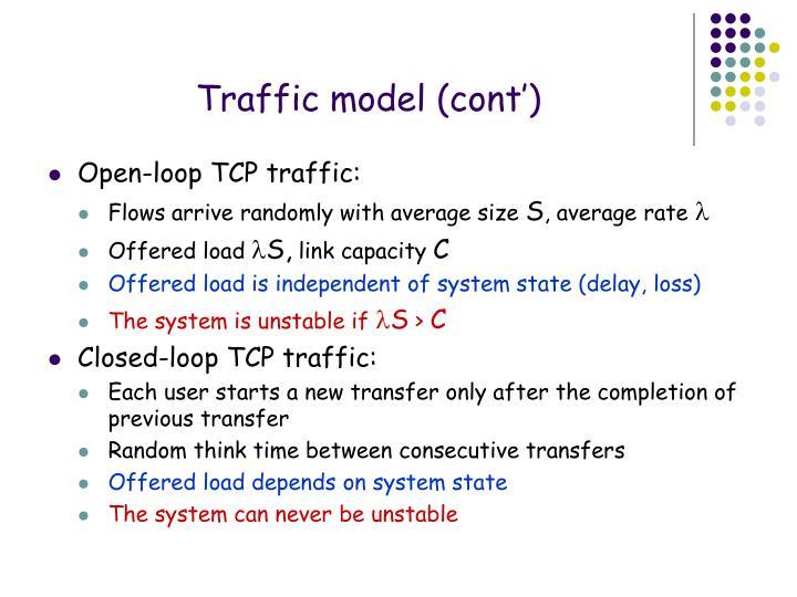 Traffic model (cont')