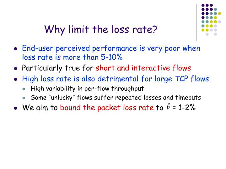 Why limit the loss rate?