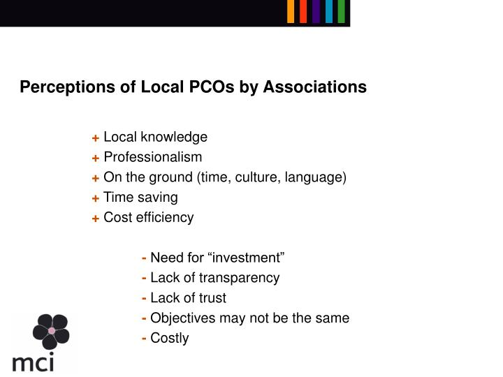 Perceptions of Local PCOs by Associations