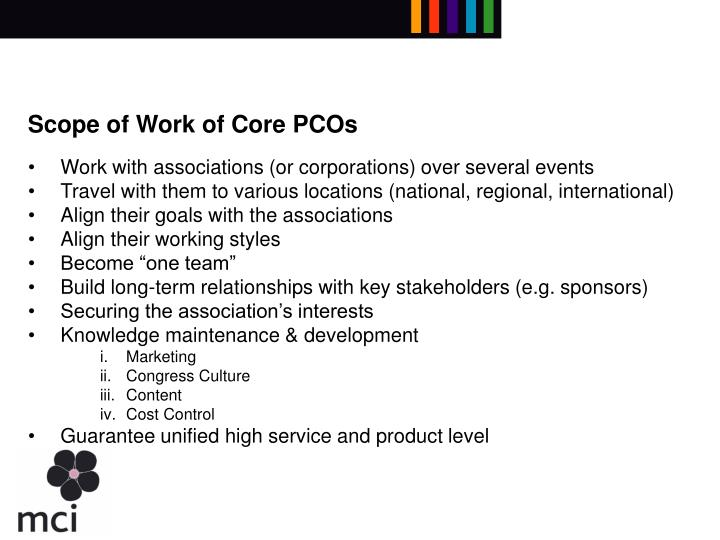Scope of Work of Core PCOs