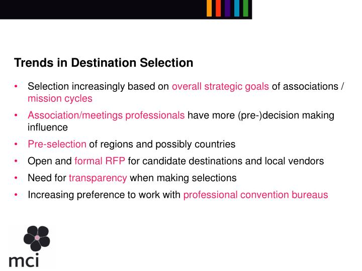Trends in Destination Selection