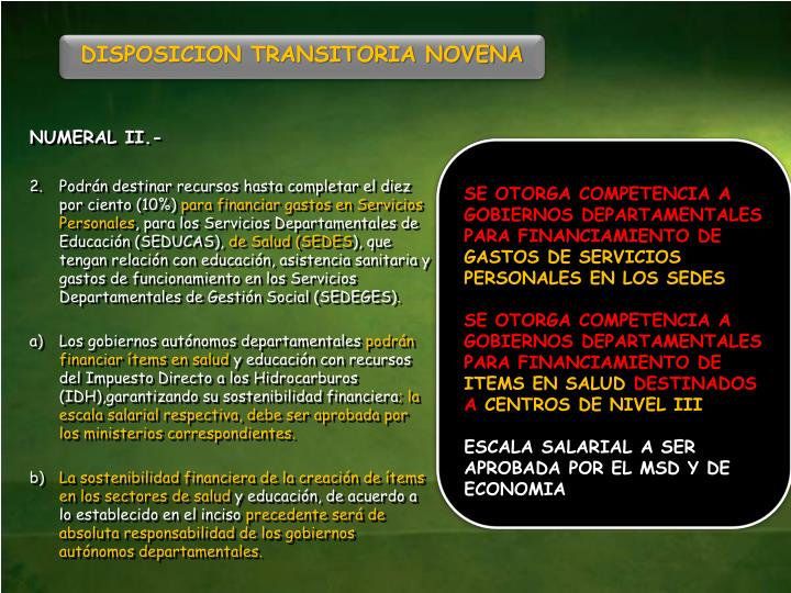 DISPOSICION TRANSITORIA NOVENA