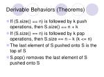 derivable behaviors theorems