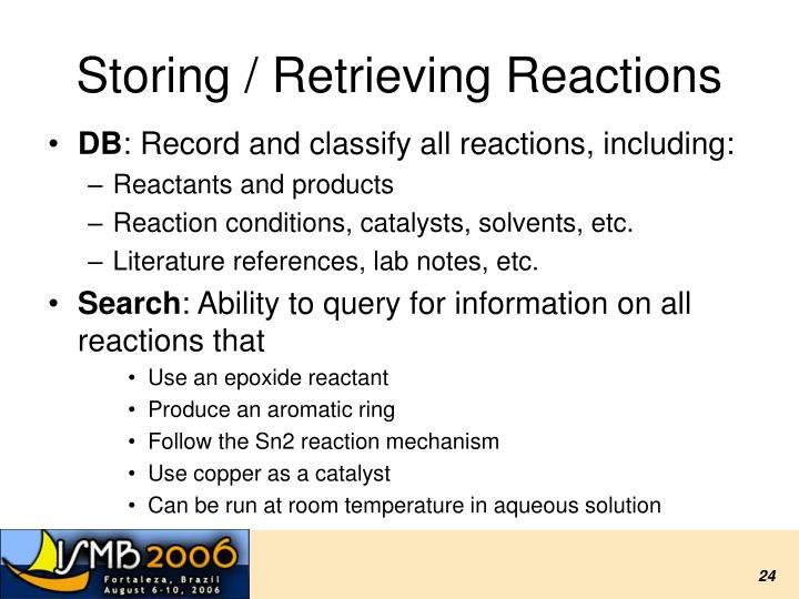 Storing / Retrieving Reactions