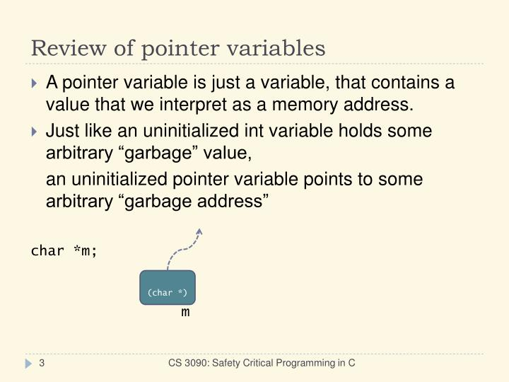 Review of pointer variables
