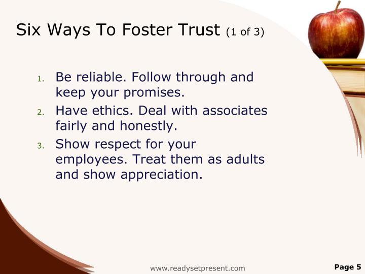 Six Ways To Foster Trust