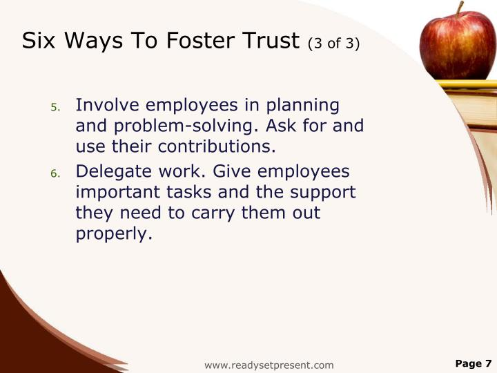 Six Ways To Foster Trust