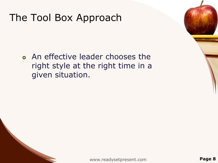 The Tool Box Approach
