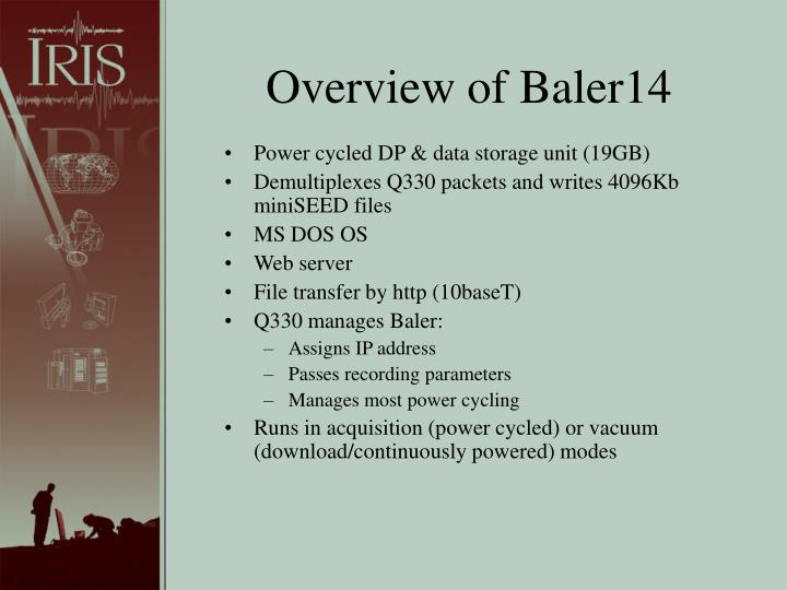 Overview of Baler14