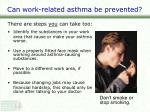can work related asthma be prevented1