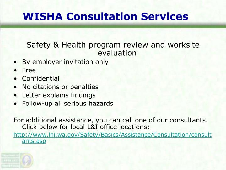 WISHA Consultation Services