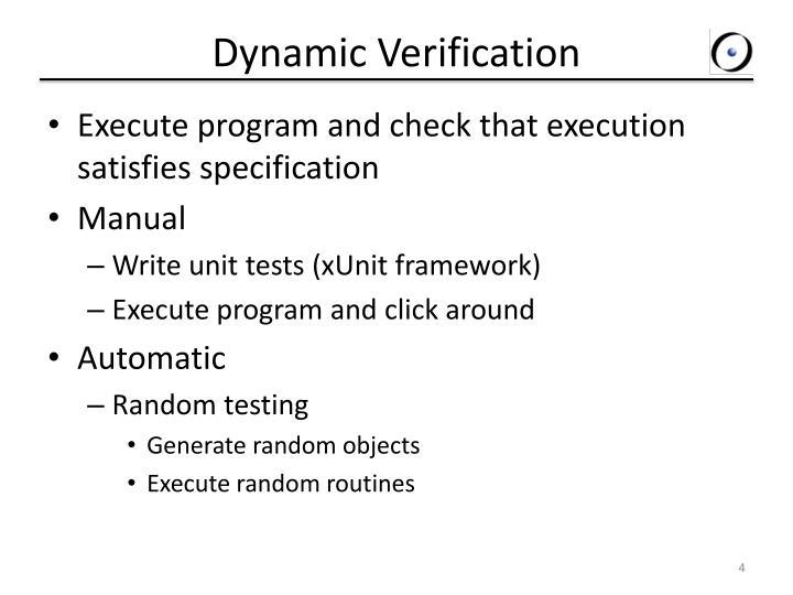 Dynamic Verification