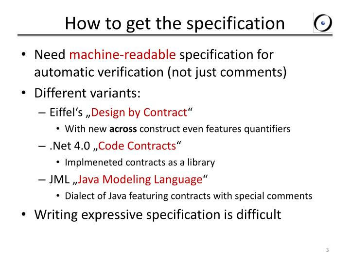 How to get the specification