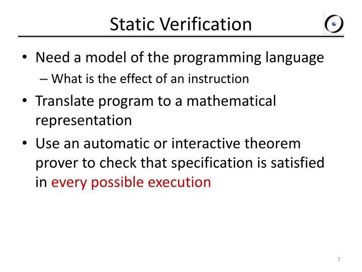 Static Verification