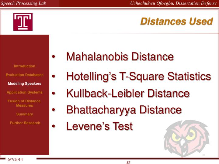 Distances Used