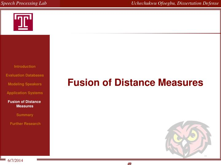 Fusion of Distance Measures
