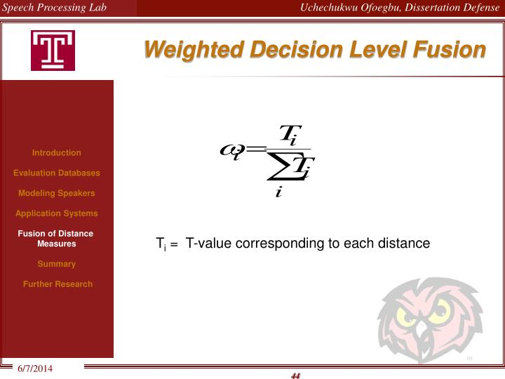 Weighted Decision Level Fusion