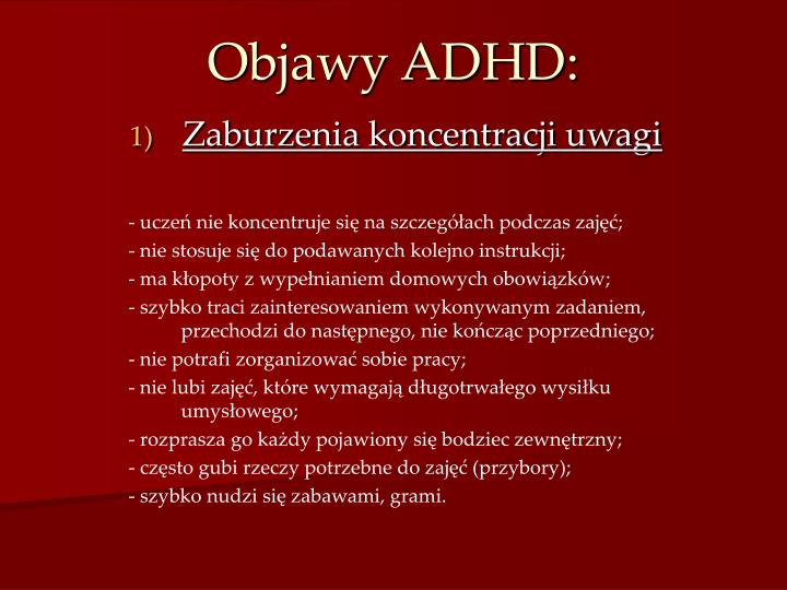 Objawy ADHD: