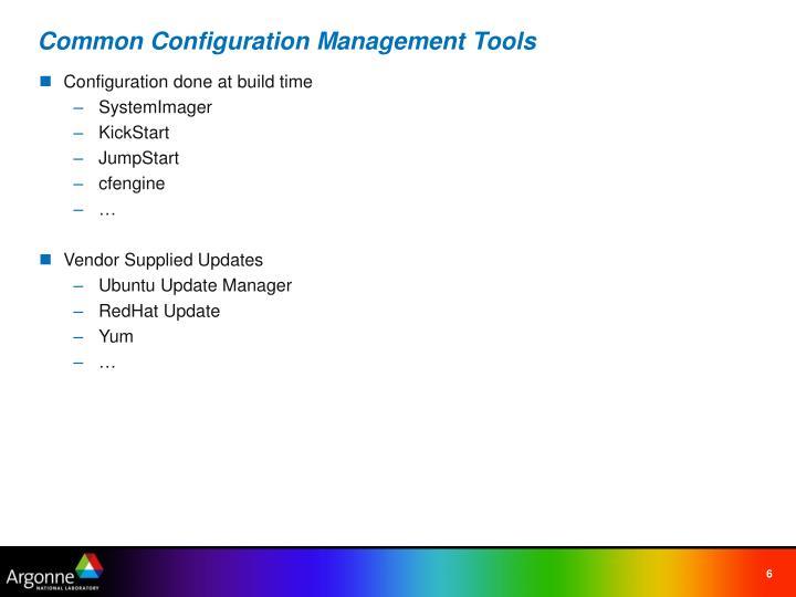 Common Configuration Management Tools