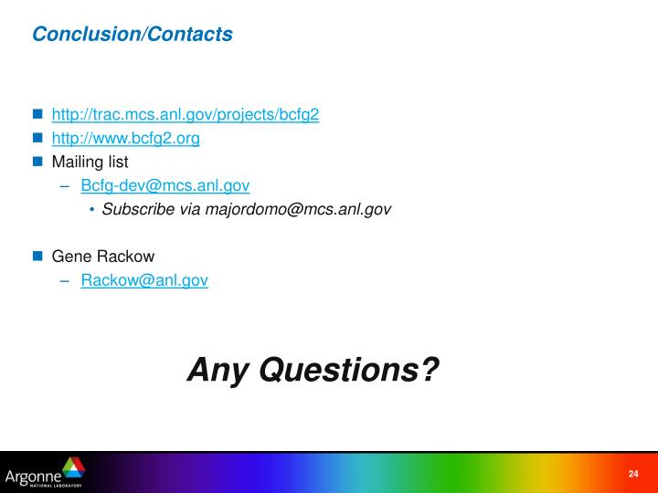 Conclusion/Contacts