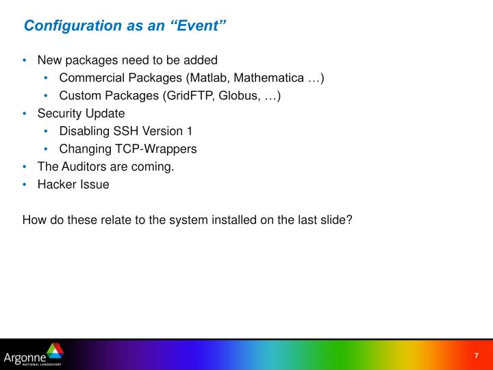 """Configuration as an """"Event"""""""