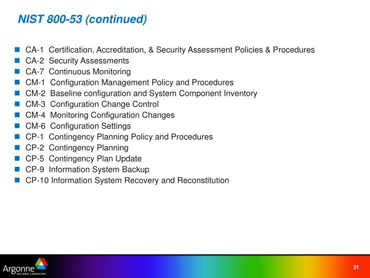 NIST 800-53 (continued)