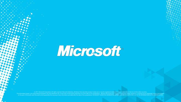 © 2011 Microsoft Corporation. All rights reserved. Microsoft, Windows, Windows Vista and other product names are or may be registered trademarks and/or trademarks in the U.S. and/or other countries.