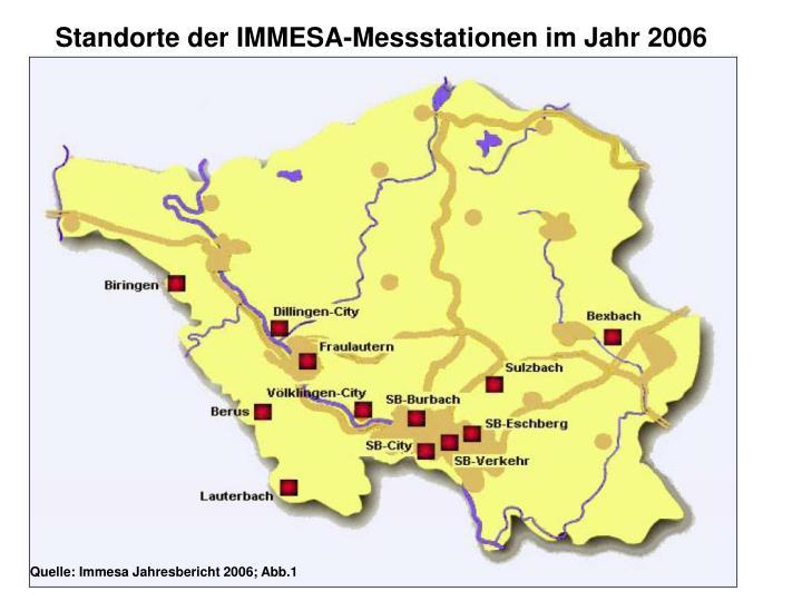 Standorte der IMMESA-Messstationen im Jahr 2006