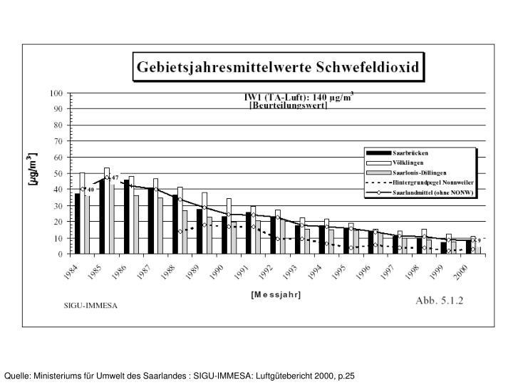 Quelle: Ministeriums für Umwelt des Saarlandes : SIGU-IMMESA: Luftgütebericht 2000, p.25